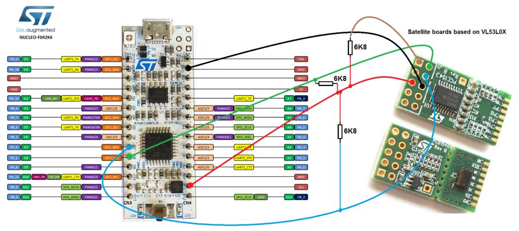 VL53L0X (proximity sensor, up to 2m) and STM32F042K6 | EMCU